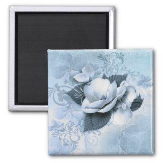 Artistic Blue Floral Square Magnet