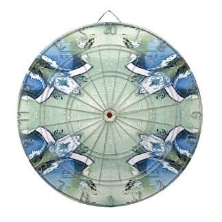 Artistic Blue Green Personalizable Chic  Pattern Dartboard