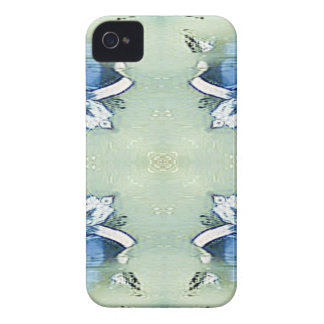 Artistic Blue Green Personalizable Chic  Pattern iPhone 4 Cases