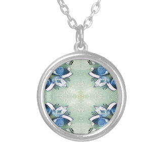 Artistic Blue Green Personalizable Chic  Pattern Silver Plated Necklace