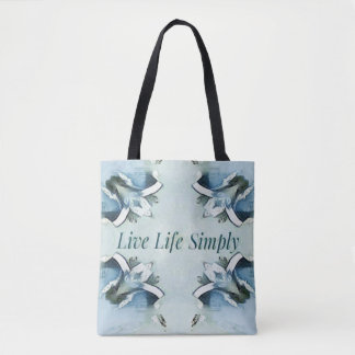 Artistic Blue Green Positive Life Airy Pattern Tote Bag