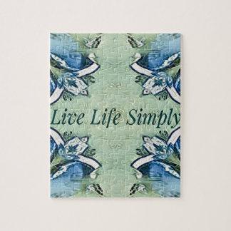 Artistic Blue Green Positive Life Modern Pattern Jigsaw Puzzle