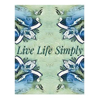 Artistic Blue Green Positive Life Modern Pattern Letterhead