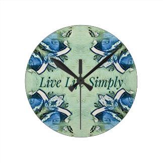 Artistic Blue Green Positive Life Modern Pattern Round Clock