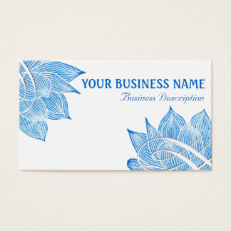 Artistic Blue Lotus Blossom on White Business Card
