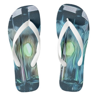 Artistic Blue Wine Bottle Pool Party Sandals