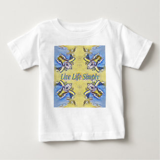 Artistic Blue Yellow Positive Life Funky Pattern Baby T-Shirt