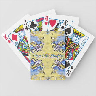 Artistic Blue Yellow Positive Life Funky Pattern Bicycle Playing Cards