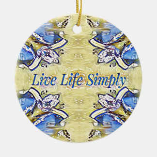 Artistic Blue Yellow Positive Life Funky Pattern Ceramic Ornament