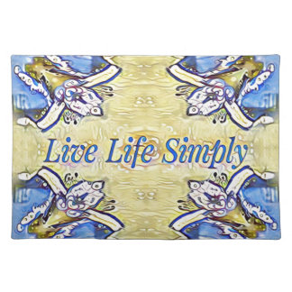Artistic Blue Yellow Positive Life Funky Pattern Placemat
