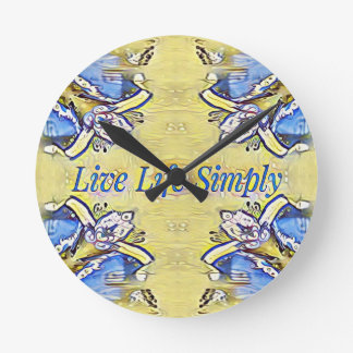 Artistic Blue Yellow Positive Life Funky Pattern Round Clock