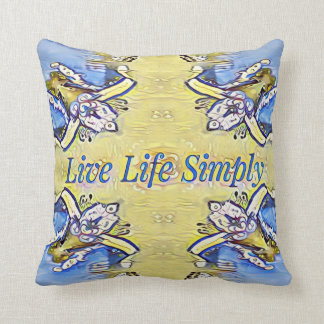 Artistic Blue Yellow Positive Life Funky Pattern Throw Pillow