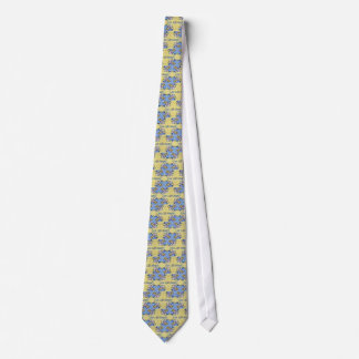 Artistic Blue Yellow Positive Life Funky Pattern Tie