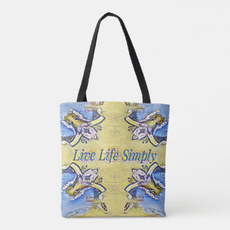 Artistic Blue Yellow Positive Life Funky Pattern Tote Bag