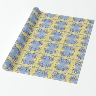 Artistic Blue Yellow Positive Life Funky Pattern Wrapping Paper