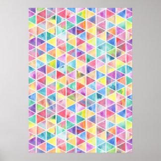 Artistic bright multicolor watercolor triangles poster