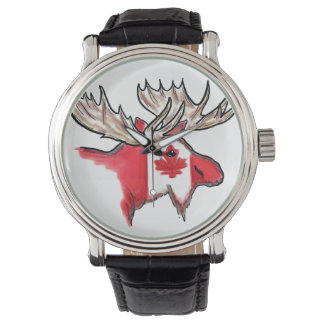 Artistic Canadian flag elk wrist watch