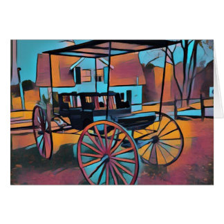 Artistic Carriage in Front Of Farmhouse Card