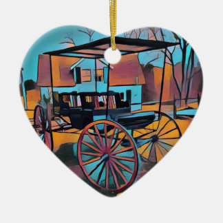 Artistic Carriage in Front Of Farmhouse Ceramic Ornament