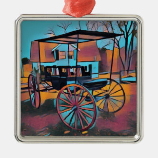 Artistic Carriage in Front Of Farmhouse Metal Ornament