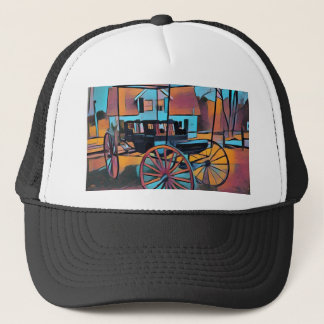 Artistic Carriage in Front Of Farmhouse Trucker Hat