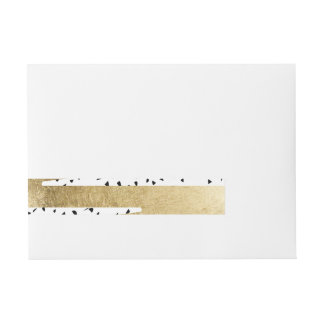 Artistic Chic Gold & Black Zigzag & Abstract Wraparound Address Label