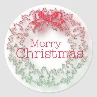 Artistic Christmas wreath Classic Round Sticker