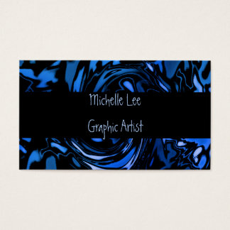 Artistic Cobalt Blue and Black Whirl Abstract Business Card