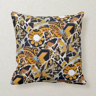Artistic Collage of Broken Tiles-Brown Throw Pillow