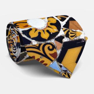 Artistic Collage of Broken Tiles-Brown Tie