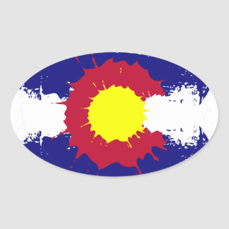 Artistic Colorado flag paint splatter oval sticker