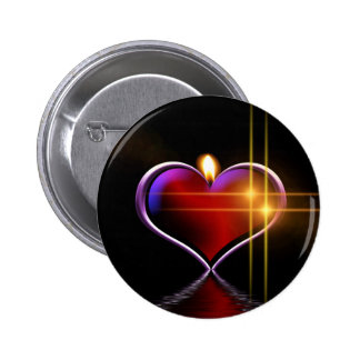 Artistic colorful heart candle illustration 2 inch round button