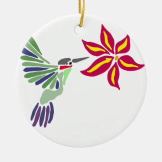 Artistic Colorful Hummingbird Art Round Ceramic Ornament