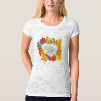 Artistic colorful paint heart ladies tee