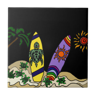 Artistic Colorful Surfboards Surfing Art Tile