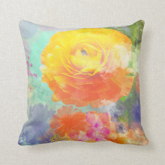 Artistic colourful floral throw pillow