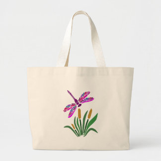 Artistic Cool Dragonfly Abstract Art Large Tote Bag
