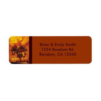 Artistic copper cowboy bull rider address labels
