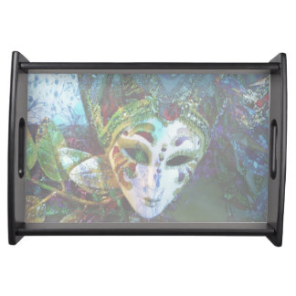 Artistic Costume Mask From Mardi Gras Serving Tray