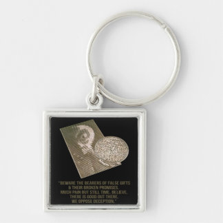 Artistic Crop Circle Silver-Colored Square Keychain