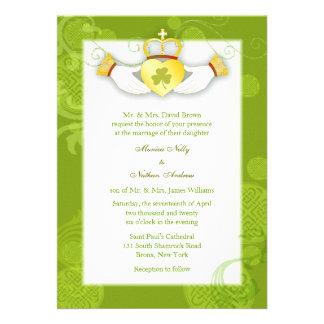 Artistic, Cute Claddagh Heart Irish Wedding Invite