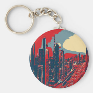 Artistic Dubai Skyline pop art Basic Round Button Keychain