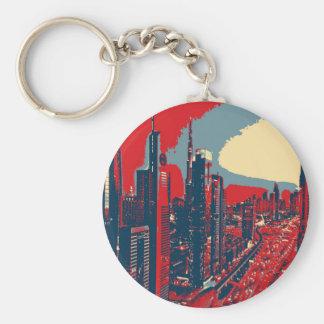 Artistic Dubai Skyline pop art Keychain
