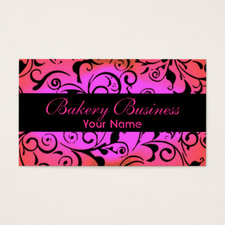 Artistic fade pink damask bakery cards