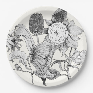 Artistic Floral Bouquet Hand Drawn Flowers Paper Plate