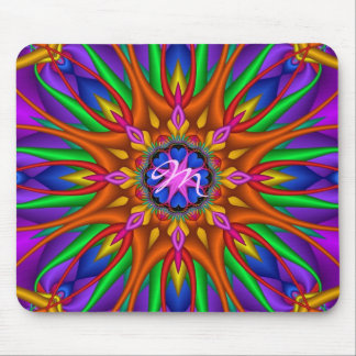 Artistic Floral kaleidoscope mousepad ith Monogram