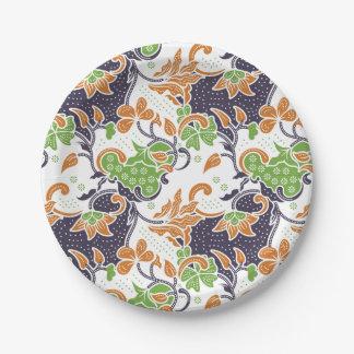 Artistic floral vines batik pattern 7 inch paper plate