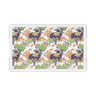 Artistic floral vines batik pattern acrylic tray