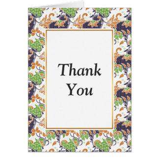 Artistic floral vines batik pattern card