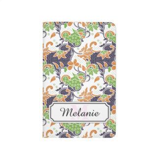 Artistic floral vines batik pattern journal